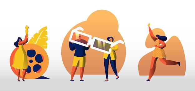 Conjunto de personagens com óculos 3d de cinema e equipamento de filme, prêmio oscar, ingresso e xícara de café. festival de cinema, evento de filmagem ou entretenimento cinematográfico. ilustração em vetor desenho animado