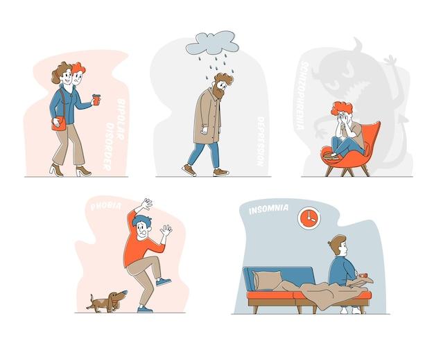 Conjunto de personagens com problemas mentais, transtorno bipolar do cérebro