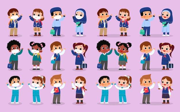 Conjunto de personagens com vários uniformes escolares com máscara e sem máscara