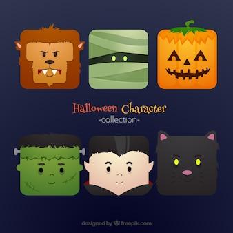 Conjunto de personagens criativos de halloween no design plano