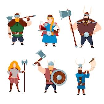 Conjunto de personagens da mitologia escandinava em fundo branco. ilustração de desenho animado