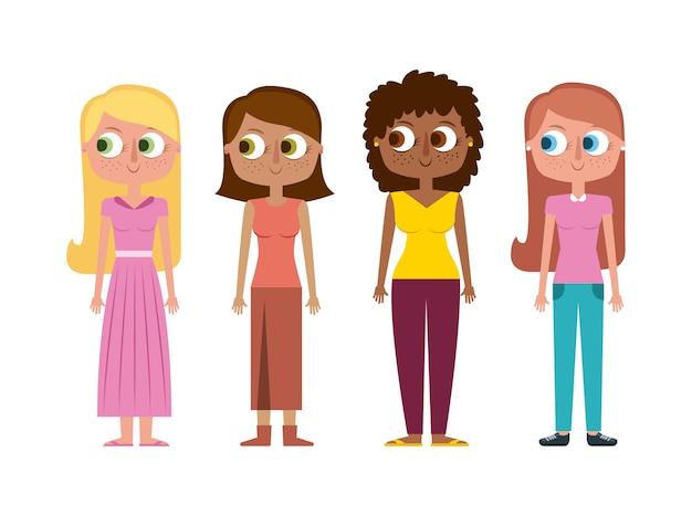 Conjunto de personagens das mulheres de desenhos animados