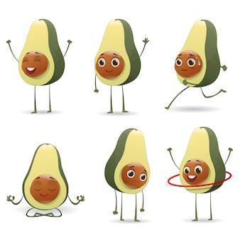 Conjunto de personagens de abacate fofos