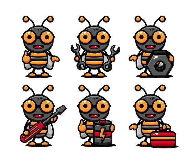 Conjunto de personagens de abelhas fofas