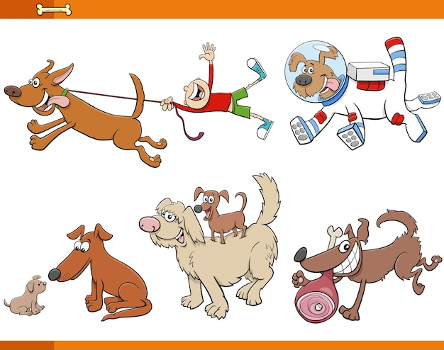 Conjunto de personagens de animais de cães e cachorros de desenho animado Vetor Premium