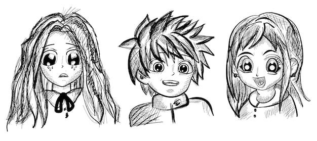 Conjunto de personagens de anime