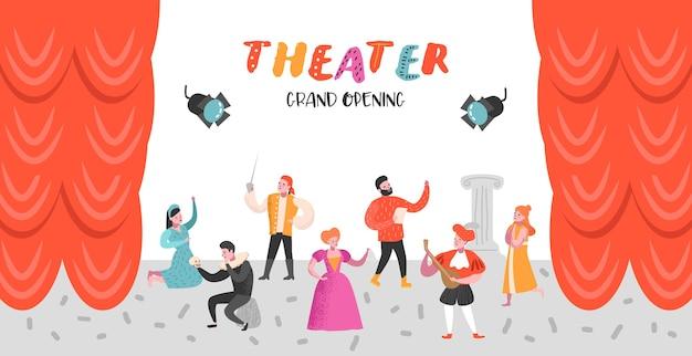 Conjunto de personagens de atores de teatro