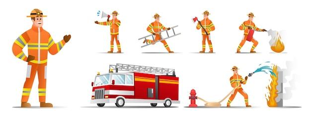Conjunto de personagens de bombeiros com ilustração de diferentes poses