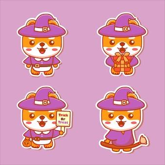 Conjunto de personagens de cães fofos usam fantasia de bruxa para o halloween. adesivo de vetor kawaii