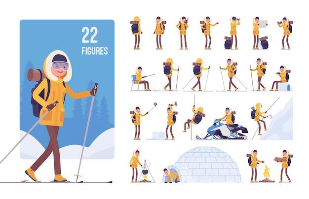 Conjunto de personagens de caminhadas de inverno