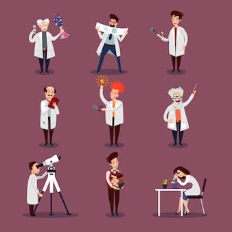Conjunto de personagens de cientistas
