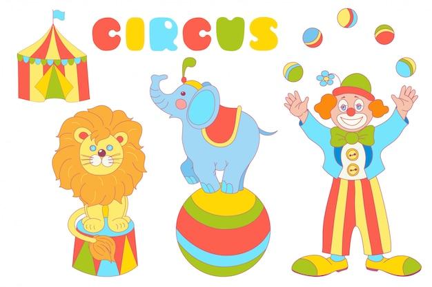 Conjunto de personagens de circo, palhaço, elefante, leão
