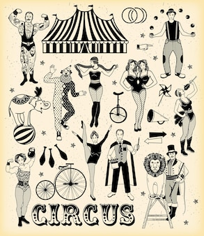 Conjunto de personagens de circo