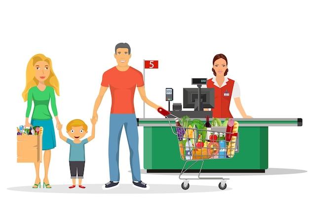 Conjunto de personagens de compras para a família,