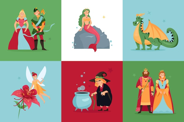 Conjunto de personagens de contos de fadas