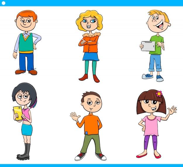 Conjunto de personagens de crianças e adolescentes dos desenhos animados