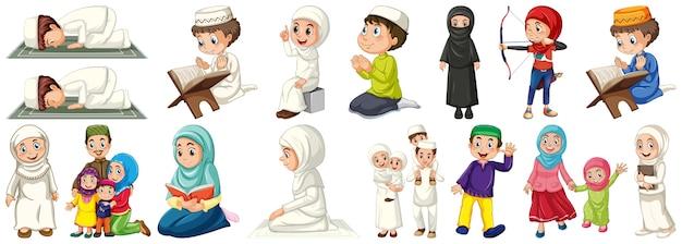 Conjunto de personagens de crianças muçulmanas