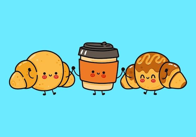Conjunto de personagens de croissant feliz engraçado e fofo de café e croissant de chocolate