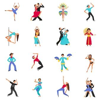 Conjunto de personagens de dança