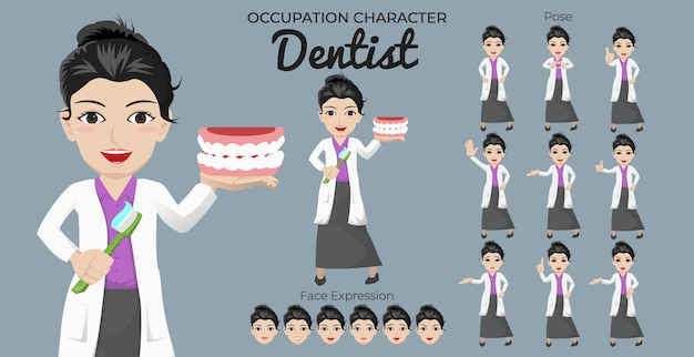 Conjunto de personagens de dentista feminina com variedade de expressões faciais e posturas