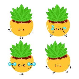 Conjunto de personagens de desenho animado de planta interior feliz fofa engraçada