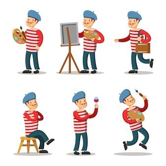 Conjunto de personagens de desenho animado do artista. pintor com paleta.