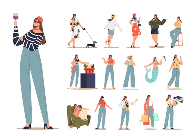 Conjunto de personagens de desenho animado feminino moderno jovem moda casual hipster mulher mãe estudante menina