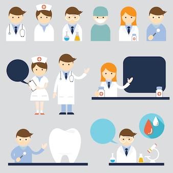 Conjunto de personagens de desenho animado médico e enfermeira