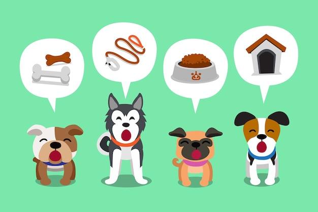 Conjunto de personagens de desenhos animados bonitos cães e balões de fala