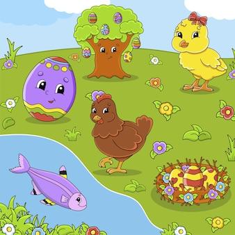 Conjunto de personagens de desenhos animados bonitos clipart de páscoa desenhado à mão