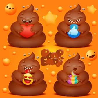Conjunto de personagens de desenhos animados cocô emoji com vários sinais nas mãos