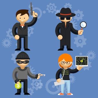 Conjunto de personagens de desenhos animados coloridos envolvidos em atividades criminosas com um homem empunhando uma arma de detetive e hacker.