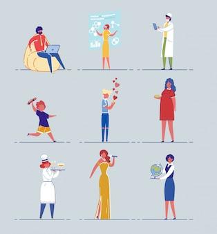 Conjunto de personagens de desenhos animados com diferentes profissões.