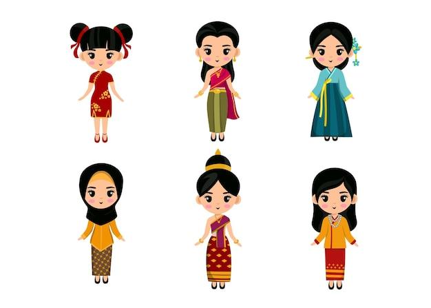 Conjunto de personagens de desenhos animados com roupas tradicionais asiáticas, conceito de coleção de trajes nacionais femininos bonitos, ilustração plana isolada