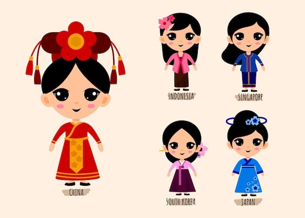 Conjunto de personagens de desenhos animados com roupas tradicionais asiáticas, conceito de coleção de trajes nacionais femininos, ilustração plana isolada