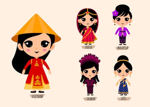 Conjunto de personagens de desenhos animados com roupas tradicionais asiáticas, conceito de coleção de trajes nacionais masculinos e femininos, ilustração plana isolada