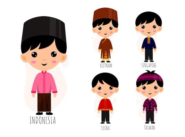Conjunto de personagens de desenhos animados com roupas tradicionais asiáticas, conceito de coleção de trajes nacionais masculinos, ilustração plana isolada