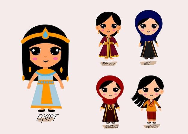 Conjunto de personagens de desenhos animados com roupas tradicionais, conceito de coleção de trajes nacionais femininos bonitos, ilustração plana isolada