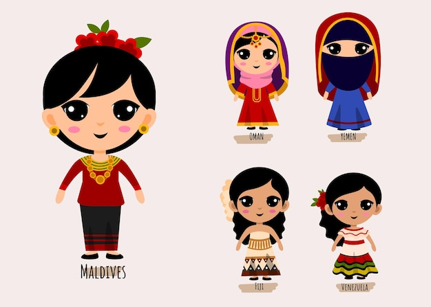 Conjunto de personagens de desenhos animados com roupas tradicionais da américa do sul, conceito de coleção de trajes nacionais femininos, ilustração plana isolada