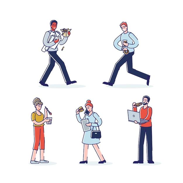 Conjunto de personagens de desenhos animados comendo.