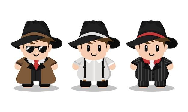 Conjunto de personagens de desenhos animados da máfia fofa