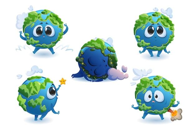 Conjunto de personagens de desenhos animados da terra
