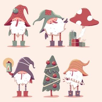 Conjunto de personagens de desenhos animados de anões de natal fofos