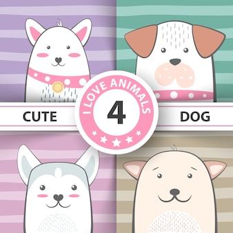 Conjunto de personagens de desenhos animados de cachorro bonito