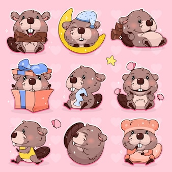 Conjunto de personagens de desenhos animados de castor kawaii bonito. adorável, feliz e engraçado mascote animal adesivos isolados, pacote de patches, ilustração de crianças. emoji de castor de menina anime, emoticon em fundo rosa