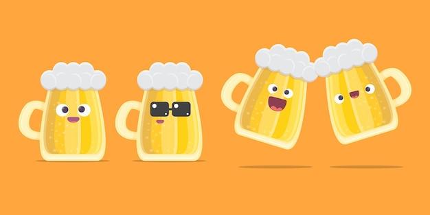 Conjunto de personagens de desenhos animados de cerveja