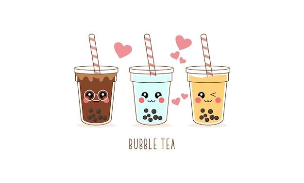 Conjunto de personagens de desenhos animados de chá com leite boba fofo Vetor Premium