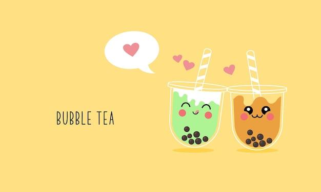 Conjunto de personagens de desenhos animados de chá com leite boba fofo