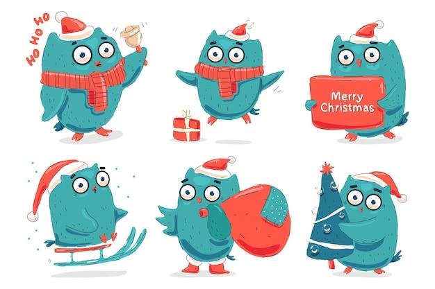 Conjunto de personagens de desenhos animados de corujas de natal fofas