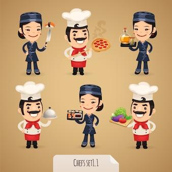 Conjunto de personagens de desenhos animados de cozinheiros